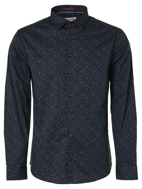 No Excess Long Sleeve All Over Print Stretch Shirt - Night