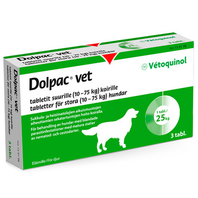 Dolpac Vet tabletit suurille koirille - 500,70/124,85/125 mg