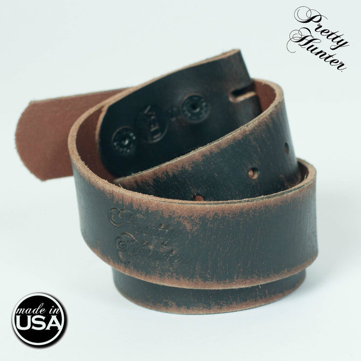 Distressed Black Leather Belt - Forever Western Boutique