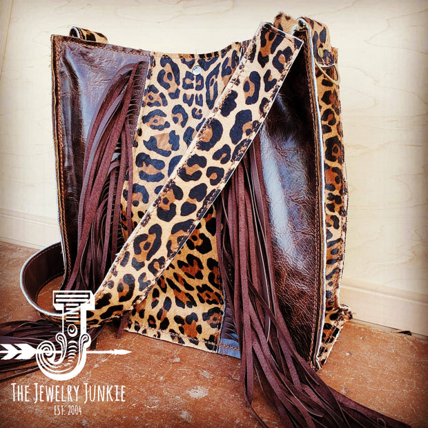 Hair on Hide Box Handbag with Leopard Accents - Forever Western Boutique