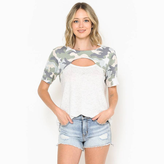 Camo Peek-a-Bo Short Sleeve Top - Forever Western Boutique