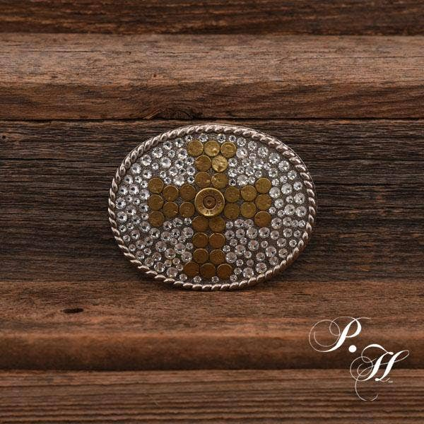 'Hallelujah' Bullet & Clear Crystal Antique Silver Buckle - Forever Western Boutique