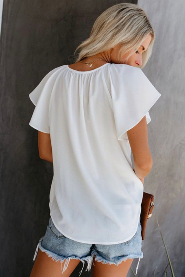 White Short sleeve Top - Forever Western Boutique