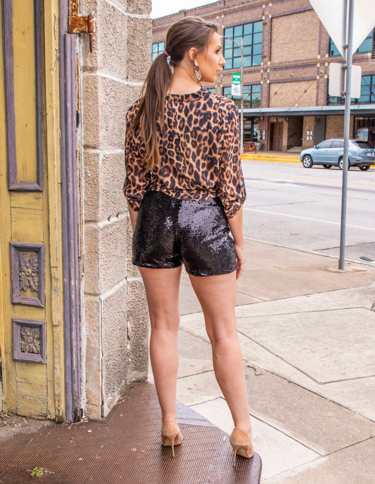 Black Sequin Shorts - Forever Western Boutique