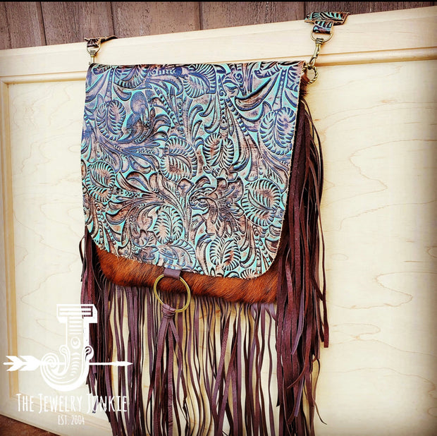 Hair on Hide Box Handbag with Turquoise Brown Floral Accents - Forever Western Boutique