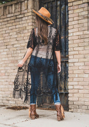 Black Lace Kimono with Fringe Hem - Forever Western Boutique