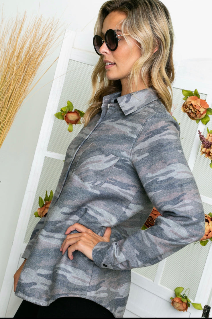Camouflage Print Fleece Lined Flannel - Forever Western Boutique