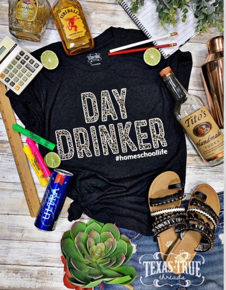 Day Drinker Leopard #homeschoollife - Forever Western Boutique