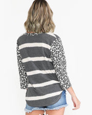Charcoal Print Jasmine Top - Forever Western Boutique