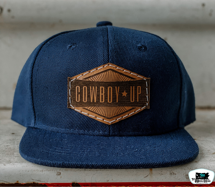 Infant Leather Patch Throwback Cap-Cowboy Up - Forever Western Boutique