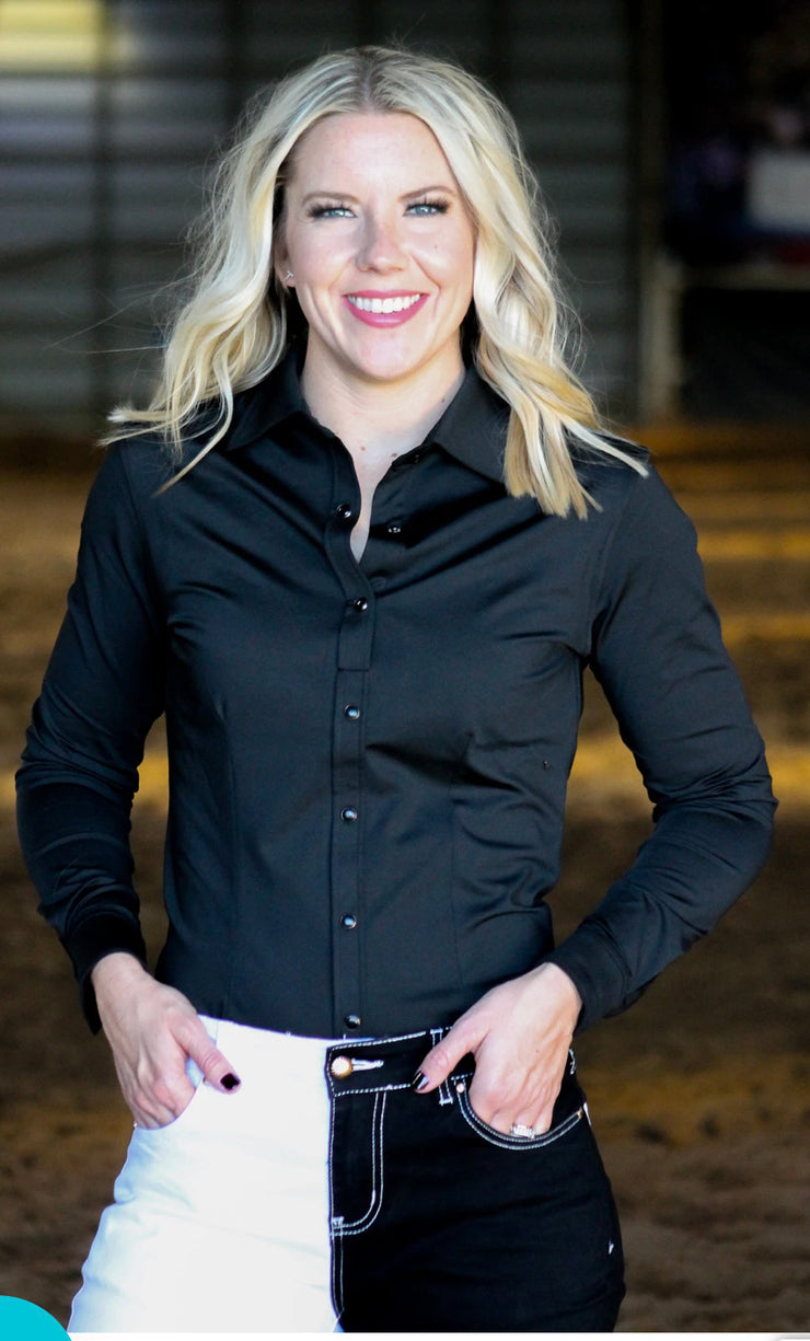 Black Performance Rodeo Shirt—Ranch Dress - Forever Western Boutique