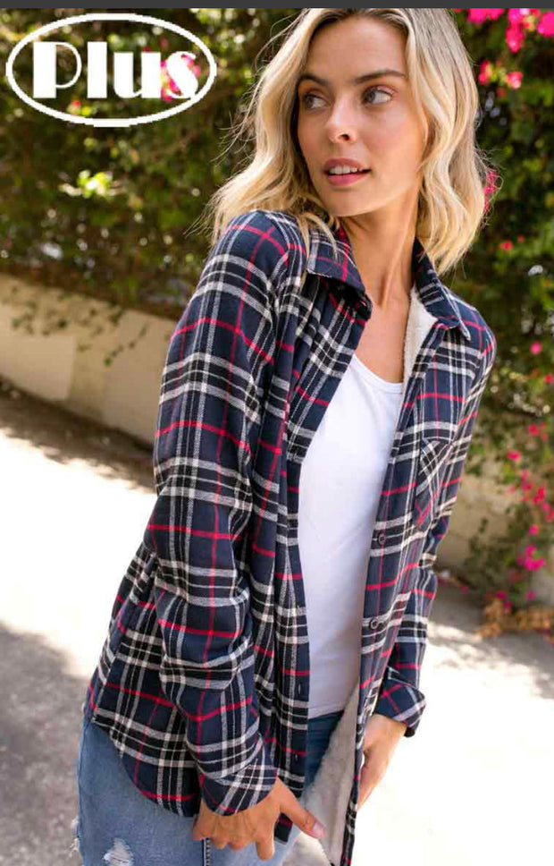 Navy/Black Fleece Lined Flannel-PLUS - Forever Western Boutique