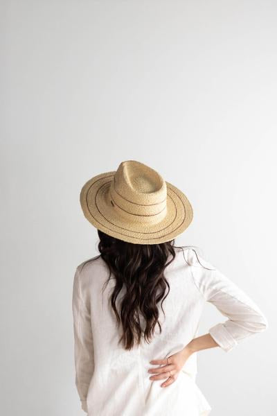 Camila Fedora-Natural with Stripes Straw Hat-Gigi Pip - Forever Western Boutique