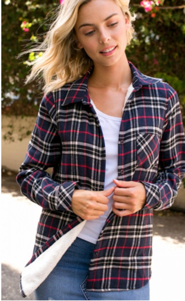 Navy/Black Fleece Lined Flannel - Forever Western Boutique