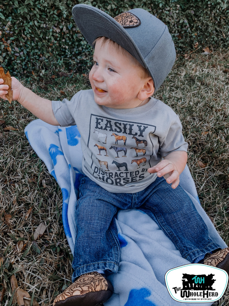 Easily Distracted By Horses Kids Tee - Forever Western Boutique