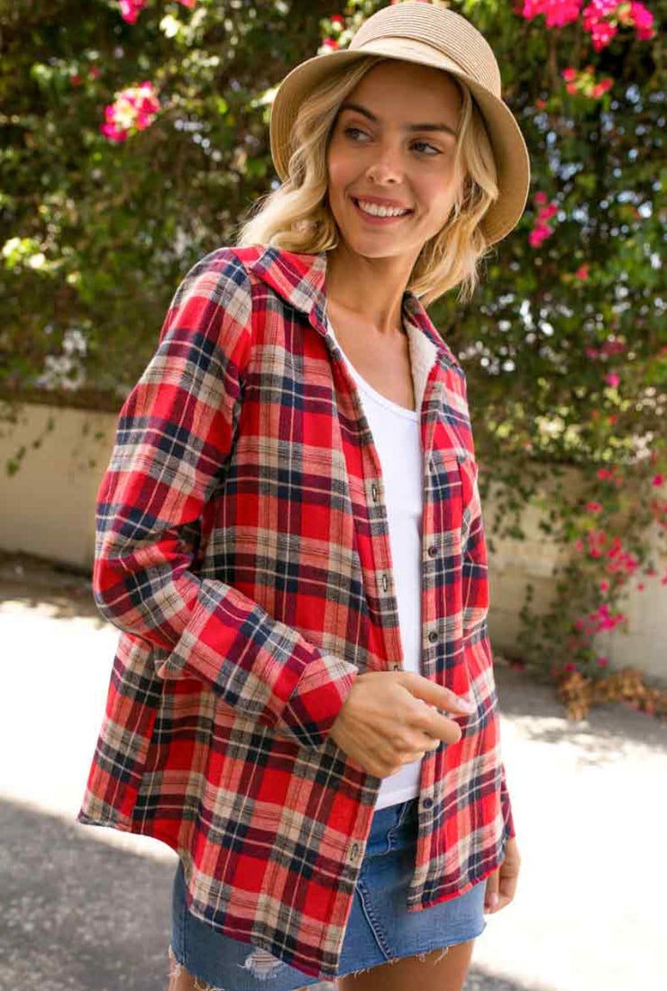 Red/Navy plaid Fleece Lined Flannel - Forever Western Boutique