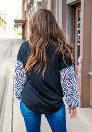 Black with Zebra Sleeves Top - Forever Western Boutique