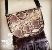 Small Crossbody Leather Handbag W/ Snakeskin Leather Flap - Forever Western Boutique