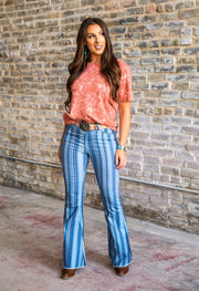 Blue Stripe High Rise Flare Denim - Forever Western Boutique