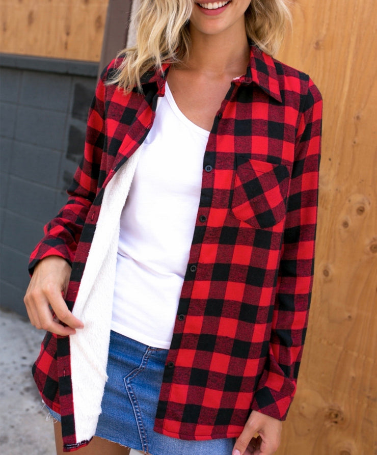 Red/Black Fleece Lined Flannel-PLUS - Forever Western Boutique