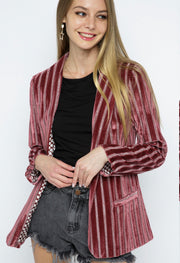 Metallic Velvet Stripe Jacket - Forever Western Boutique
