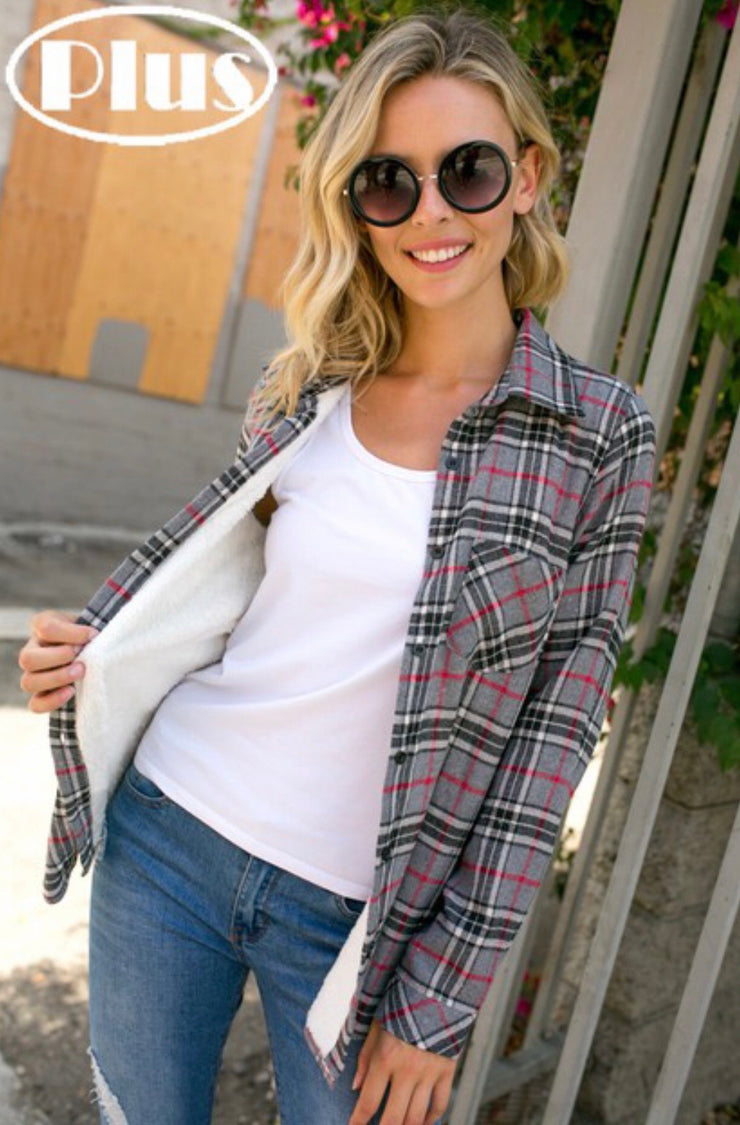 Plus-Checker Plaid Fleece Lined Flannel-Grey/Black - Forever Western Boutique
