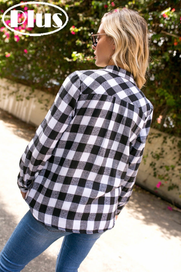 Black/white Fleece Line Flannel - Forever Western Boutique