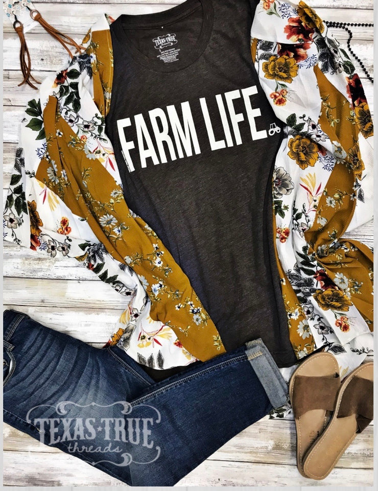 Farm Life Tee- Macchiato Brown - Forever Western Boutique