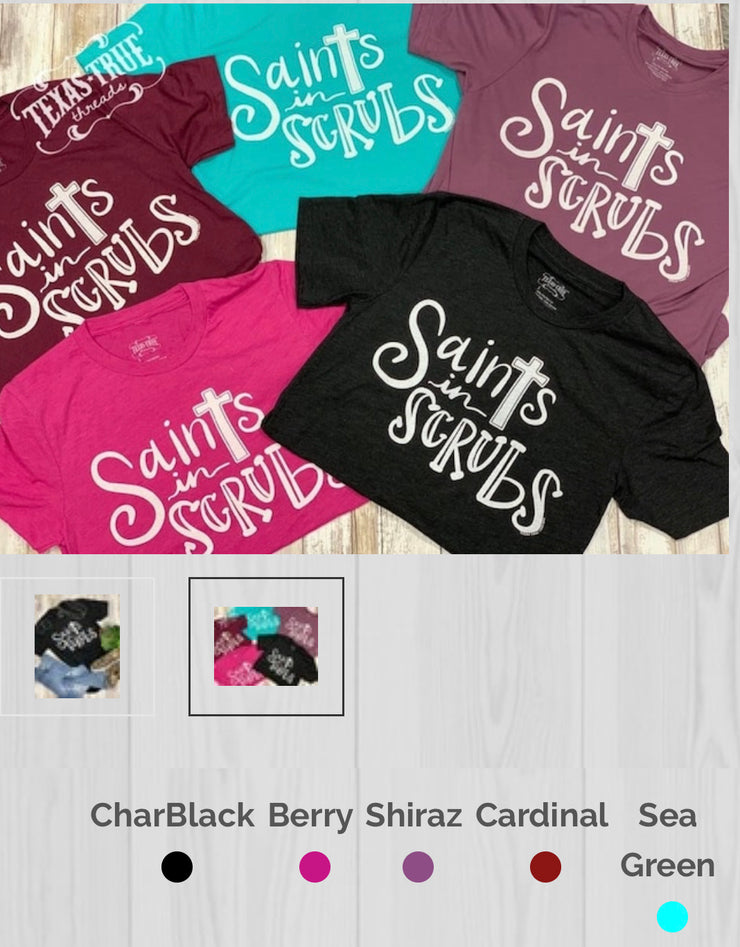 Saints in Scrubs Tee-cardinal - Forever Western Boutique