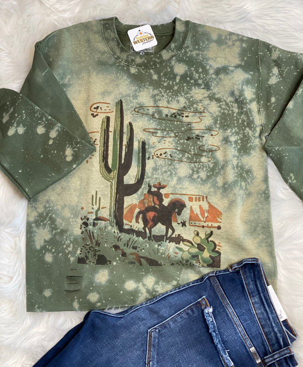 Cactus & Cowboy Matchbook Cropped Sweatshirt - Forever Western Boutique
