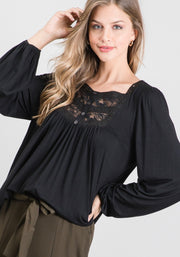 Long Sleeve Crochet Top - Forever Western Boutique
