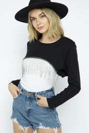 Long Sleeve Rhinestone Crop Top - Forever Western Boutique