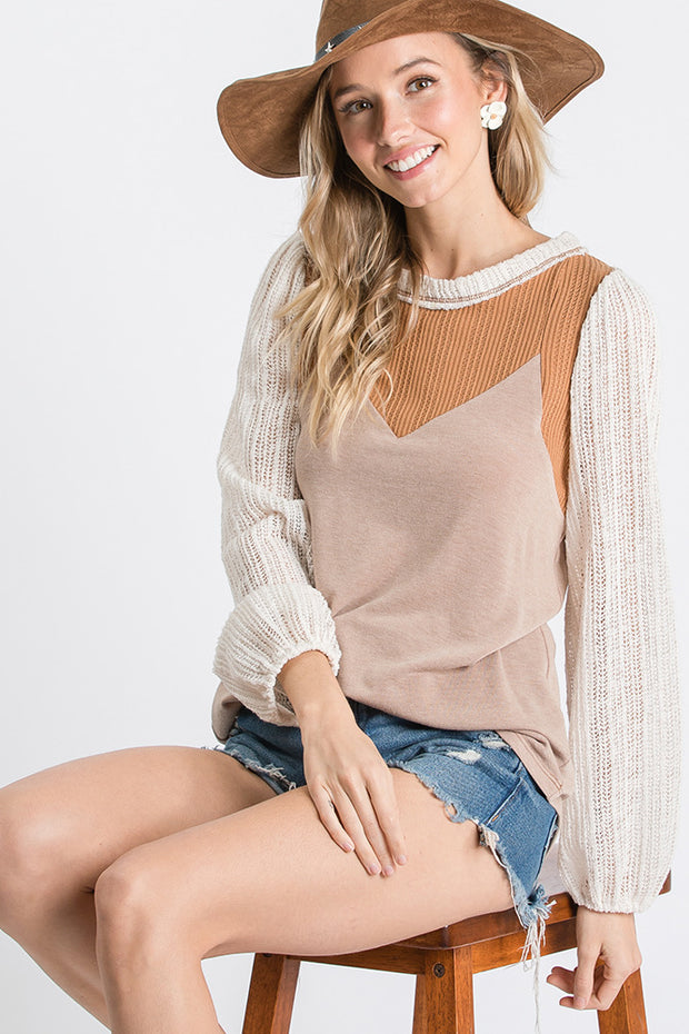 Long sleeve neutral top - Forever Western Boutique