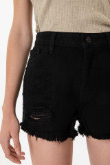 High Rise Black Shorts-KanCan - Forever Western Boutique