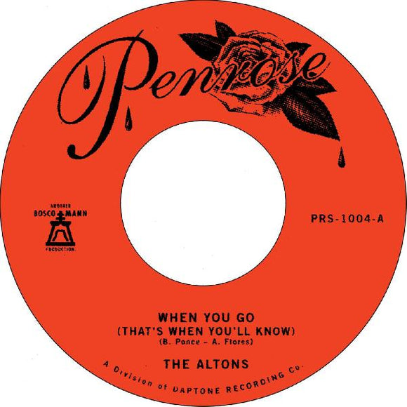 THE ALTONS - WHEN YOU GO Vinyl 7