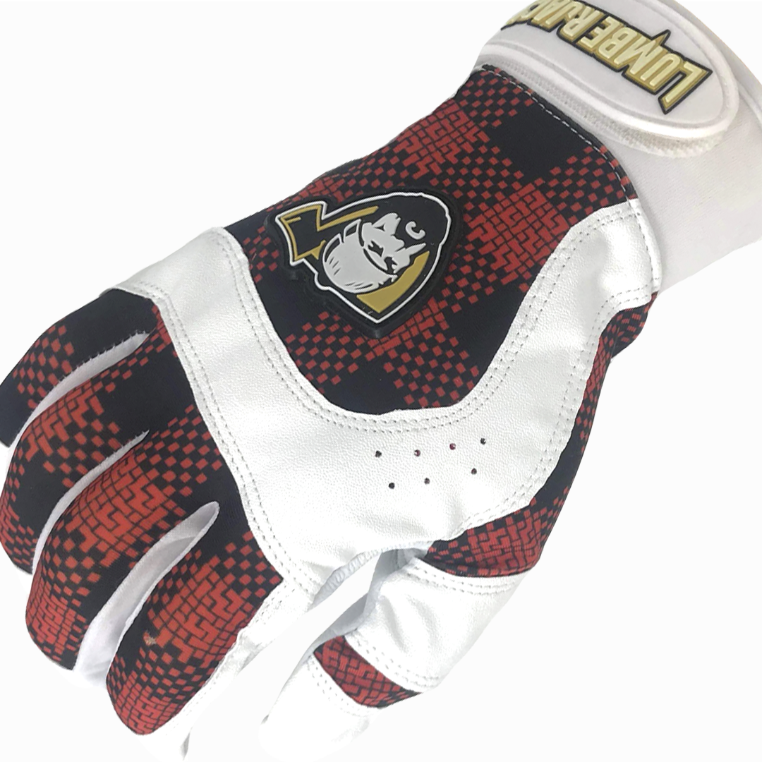 Batting Gloves - Plaid Orange
