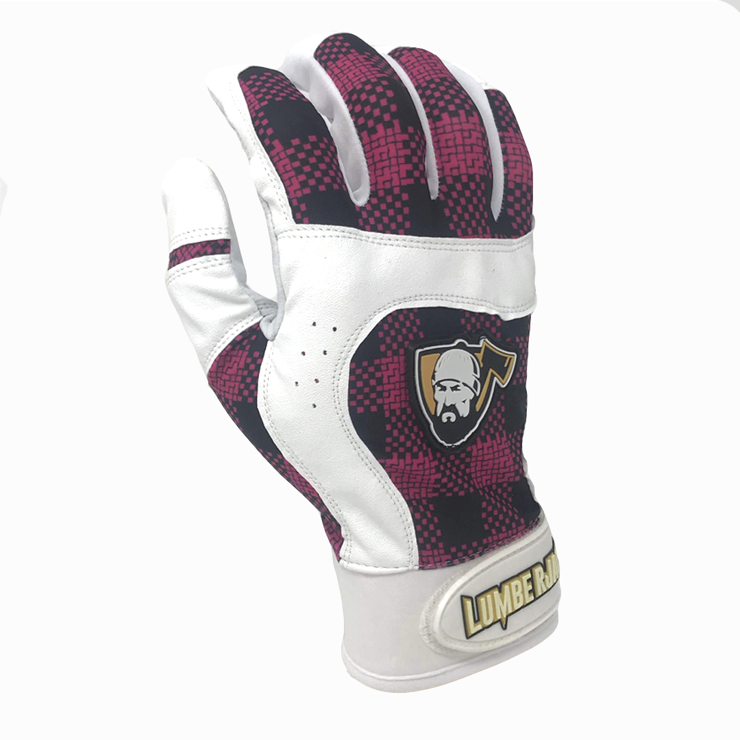 Batting Gloves - Plaid Pink