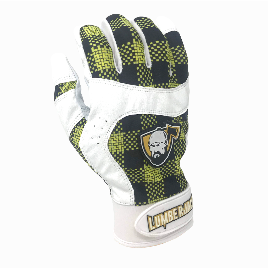 Batting Gloves - Plaid Yellow