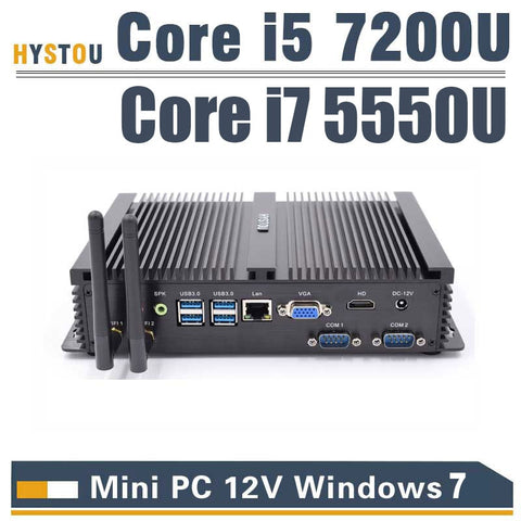 3 años de garantía HYSTOU Core i5 7200U sin ventilador Mini PC windows 10 linux de Escritorio PC Industrial con núcleo i7 Windows7 mini computadora