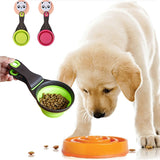 Pet Folded Dog Cat Feeders Bowl Food Scoop Spoon Sealing Clipper Food Storage Pet Cat Dog Supplies Collapsible Doggie Snack Cup