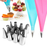 14pcs/Set Icing Piping Nozzles With Pastry Confectionery Bag And  Interface Adapter Cream Tip Cake Decorating Spout Tools
