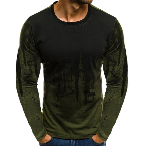 camiseta t-shirt men Men Gradient Color Long-Sleeve Beefy Muscle Basic Solid Blouse Tee Shirt Top Casual t-shirt men Cotton 2019