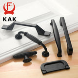 KAK American Style Black Cabinet Handles Solid Aluminum Alloy Kitchen Cupboard Pulls Drawer Knobs Furniture Handle Hardware