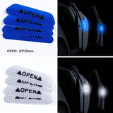 4Pcs/Set Car OPEN Reflective Tape Warning Mark Reflective Open Notice Bicycle Accessories Exterior Car Door Stickers DIY