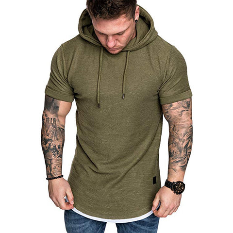 TShirts Men's Summer Slim Fit Casual Pattern Large Size Short Sleeve Hoodie Top Blouse Casual Men Fashion High Quality c0509