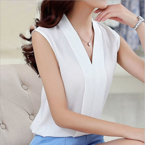 Lace white Chiffon Blouse New spring Sleeveless chiffon shirt Women Tops Short Sleeve V-Neck Black shirt pink Chiffon Short Top
