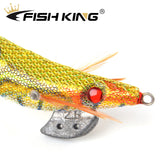 FISH KING Fishing Lure Size 2#2.5#3#3.5# Lead Sinker Squid Hook Jigs Octopus Cuttlefish Shrimp Baits 3D Eyes Luminous Lures