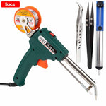 60W Tin Electric Soldering Iron Kit Automatic Send Tin Gun Electric Solder Station Tip Sucker Tweezers Wire Welding Tools