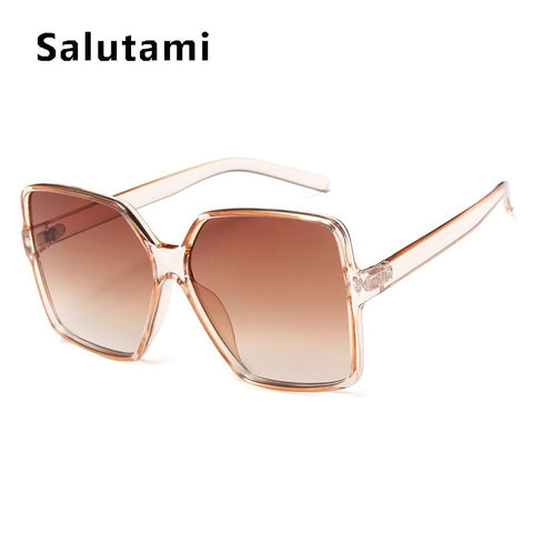 Vintage Oversize Square Sunglasses Women Men Luxury Brand Black Brown Big Frame Sun Glasses Female Shades Coulos