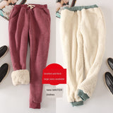 Lambskin Sweatpants Winter Women's Plus Size Velvet  Autumn and Models Loose Thickening Was Thin Warm Pants